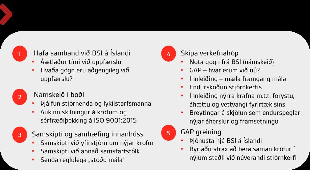 ISO 9001_2015 Undirbúningur fyrir uppfærslu og innleiðingu